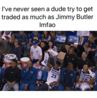 Basketball, Dude, and Jimmy Butler: I've never seen a dude try to get  traded as much as Jimmy Butler  Imfao Dude next to him trying hard to hide that laugh 😂 (Via ‪LeGreatest_Ev3r-Twitter)