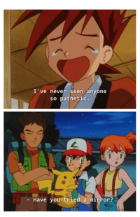 Pokemon, Mirrors, and Pathetic: I've never seen anyone  so pathetic.  Have you tried a mirror? That burn though.
