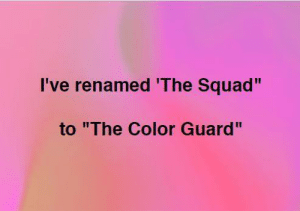 """Color Guard: I've renamed 'The Squad""""  to """"The Color Guard"""""""