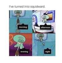 practically: I've turned into squidward.  morning  afternoon  evening  night practically