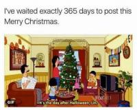 merry christmas gif: I've waited exactly 365 days to post this  Merry Christmas  GIF  -It's the day after Halloween, Lin.