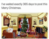 merry christmas gif: I've waited exactly 365 days to post this  Merry Christmas.  GIF  It's the day after Halloween, Lin.