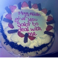 """A husband gave this cake to his wife after an argument! Subhan'Allah .. Such a sweet, cute & creative thing to do for someone you love for the sake of Allah! Abu'l-Darda' (radi Allahu 'anhu) once said to his wife: """"If you see me angry, calm me down, and if I see you angry, I will calm you down, otherwise it will be too difficult to live together."""": ive yADu  Solor to  deal with A husband gave this cake to his wife after an argument! Subhan'Allah .. Such a sweet, cute & creative thing to do for someone you love for the sake of Allah! Abu'l-Darda' (radi Allahu 'anhu) once said to his wife: """"If you see me angry, calm me down, and if I see you angry, I will calm you down, otherwise it will be too difficult to live together."""""""