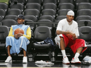 Iverson & Melo looking comfortable during a Nuggets practice in 2007: Iverson & Melo looking comfortable during a Nuggets practice in 2007