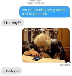 fuck you: IVessage  Today 11:56 AM  Are you sending my grandma  pics of your dick?  ? No why??  Delivered  .fuck you