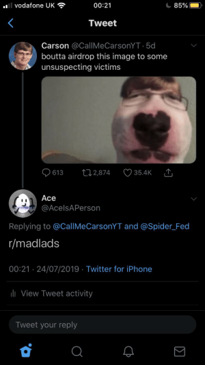 Iphone, Spider, and Twitter: IVodafone UK  00:21  85%  Tweet  Carson @CallMeCarsonYT5d  boutta airdrop this image to some  unsuspecting victims  613  t2,874  35.4K  Ace  @AcelsAPerson  Replying to @CallMeCarsonYT and @Spider Fed  r/madlads  00:21 24/07/2019 Twitter for iPhone  ilView Tweet activity  Tweet your reply Carson Gone Wrong!