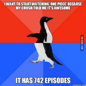 What the actual f**k One Piece: IWANT TO STARTWATCHINGCONE PIECE BECAUSE  MY CRUSH TOLD ME ITS AWESOME  T HAS 742 EPISODES  MEMEFUL.COM What the actual f**k One Piece