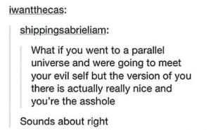 Evil, Nice, and Asshole: iwantthecas:  shippingsabrieliam:  What if you went to a parallel  universe and were going to meet  your evil self but the version of you  there is actually really nice and  you're the asshole  Sounds about right Your evil self