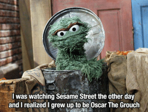Memes, Sesame Street, and 🤖: Iwas watching Sesame Street the other day  and I realized I grew up to be Oscar The Grouch Let's all find something at Unlawfulthreads.com