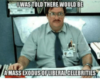 Memes, Exodus, and 🤖: IWASTOLD THERE WOULD BE  A MASS EXODUS OF LIBERALCELEBRITIES