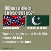 9/11, Memes, and Militia: IWho makes  these rules  Symbol of hate  Religion of peace  Terror attacks since 9-11/2001  Islam: 28,031  Confederates: Zero  As 2016 East Tennessee Mountain Militia