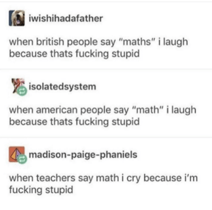 """Dank, Fucking, and Memes: iwishihadafather  when british people say """"maths"""" i laugh  because thats fucking stupid  isolatedsystem  when american people say """"math"""" i laugh  because thats fucking stupid  madison-paige-phaniels  when teachers say math i cry because i'm  fucking stupid me_irl by E_______ MORE MEMES"""