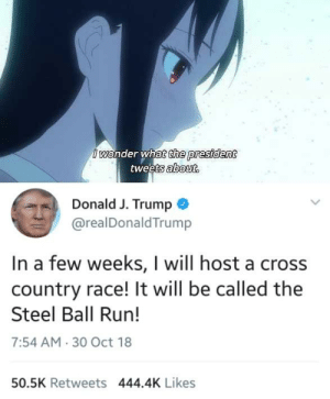 Anime, Run, and Cross: Iwonder what the president  tweets about.  Donald J. Trump  @realDonaldTrump  In a few weeks, I will host a cross  country race! It will be called the  Steel Ball Run!  7:54 AM 30 Oct 18  50.5K Retweets 444.4K Likes Part 7 never