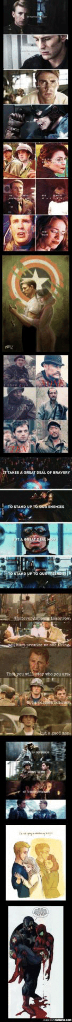 Why Steve Rogers inspires me - 1omg-humor.tumblr.com: IY TAKES A OREAT DEÁL OF BRAVERY  TO STAND UP TO oUR ENEMIES  PREAT DEAL  STAND UP TO OURTRIEND  thatevertarpe tosorrow,  hust pronise ne one thing.  Tht you willetay who you are.  ote oad Why Steve Rogers inspires me - 1omg-humor.tumblr.com