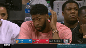 """Damn...wonder if it's too late to ask for a trade back to New Orleans."" https://t.co/1ET1e1YN9u: iyNY  NO  25 2nd 7:26 24  38  SUMMER  ULEAGUE  TO: 2  TO: 1  ESPN  JOIN THE FIGHT AGAINST CANCER  NFL  FOUNDATION  Donate Now v.org/donate  THE ATHLETIC ""Damn...wonder if it's too late to ask for a trade back to New Orleans."" https://t.co/1ET1e1YN9u"