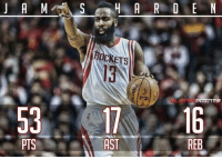 Nba, May, and Ast: J A M A S H A R D E N  CKETS  POITTS  PTS  AST  REB Why it may have been the 2nd greatest game ever: bit.ly/HardenHistoricNight