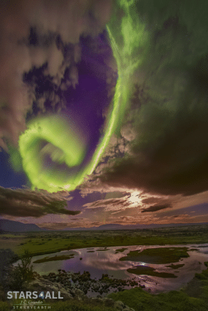 Tumblr, Blog, and Space: J.C Casado  STA R R Y E A RTH photos-of-space:  Spiral Aurora over Icelandic Divide [1336 x 2000]