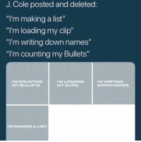 """What do y'all think jcole is up to⁉️ Follow @bars for more ➡️ DM 5 FRIENDS: J. Cole posted and deleted  """"I'm making a list""""  """"I'm loading my clip""""  """"I'm writing down names  """"I'm counting my Bullets""""  MCOUNTING  MY BULLETS  MLOADING  MY CLIPS.  M WRITING  DOWN NAMES.  M MAKINGA LIST What do y'all think jcole is up to⁉️ Follow @bars for more ➡️ DM 5 FRIENDS"""