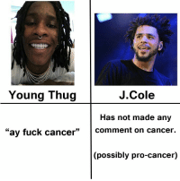 J Cole y'all mans tho: J. Cole  Young Thug  Has not made any  ay fuck cancer  Comment on cancer.  ossibly pro-cancer) J Cole y'all mans tho