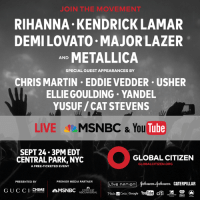 This year's #GCFestival kicks off tomorrow afternoon! Don't stress if you can't make it to NYC though. Just tune-in to our live stream at 4:00PM EDT → http://glblctzn.me/gcflive: J IN THE MOVEMENT  RIHANNA KENDRICK LAMAR  DEMILOVATO MAJOR LAZER  METALLICA  AND  SPECIAL GUEST APPEARANCES BY  CHRIS MARTIN EDDIE VEDDER USHER  ELLIE GOULDING YANDEL  YUSUF/CAT STEVENS  LIVE  MSNBC & You  Tube  SEPT 24.3 PM EDT  GLOBAL CITIZEN  CENTRAL PARK, NYC  GLOBALCITIZEN.ORG  A FREE-TICKETED EVENT  PRESENTED BY  PREMIER MEDIA PARTNER  (Hohmmon gohmon CATERPILLAR  LIVE nATIOn  CHIME  MSNBC  G U C C I  COMCAST  Madencode YouTube citi  SR  NBCUNIVERSAL  Google. This year's #GCFestival kicks off tomorrow afternoon! Don't stress if you can't make it to NYC though. Just tune-in to our live stream at 4:00PM EDT → http://glblctzn.me/gcflive