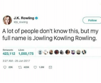 ••••••• i absolutely love evermore from the beauty and the beast remake; literally been listening to it on repeat: J.K. Rowling  Bjk rowling  Follow  A lot of people don't know this, but my  full name is Jowling Kowling Rowling.  Retweets Likes  423,112 1,000,175  ②閒@.@@gao  3:27 AM-26 Jun 2017 ••••••• i absolutely love evermore from the beauty and the beast remake; literally been listening to it on repeat