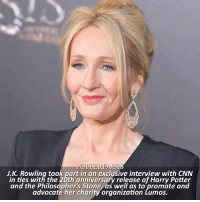 NEWS | Snitch Seeker ⠀⠀⠀⠀⠀⠀⠀⠀⠀⠀⠀⠀⠀⠀ — The author sat down with award-winning journalist Christiane Amanpour, whose interview will be broadcast in the UK and online this coming Monday, July 10th at 7pm GMT-2pm EST. — harrypotter jkrowling: J.K. Rowling took part in an exclusive interview with CNN  in ties with the 20th anniversary release of Harry Potter  and the Philosopher's Stone, as well as to promote and  advocaté her charity organization Lumos.  and the tblosgepher churony orgnilaltbroo.eaned NEWS | Snitch Seeker ⠀⠀⠀⠀⠀⠀⠀⠀⠀⠀⠀⠀⠀⠀ — The author sat down with award-winning journalist Christiane Amanpour, whose interview will be broadcast in the UK and online this coming Monday, July 10th at 7pm GMT-2pm EST. — harrypotter jkrowling