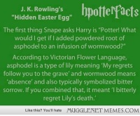 "<p>Hidden meanings in the series. J.K. Rowling is a genius. <a href=""http://ift.tt/1u8ryAu"">http://ift.tt/1u8ryAu</a></p>: J. K. Rowling's  ""Hidden Easter Egg""  The first thing Snape asks Harry is ""Potter! What  would I get if I added powdered root of  asphodel to an infusion of wormwood?""  According to Victorian Flower Language  asphodel is a type of lily meaning 'My regrets  follow you to the grave and wormwood means  absence and also typically symbolized bitter  sorrow. If you combined that, it meant '1 bitterly  regret Lily's death.  Like this? You'll hate  MUGGLENET MEMES.COM <p>Hidden meanings in the series. J.K. Rowling is a genius. <a href=""http://ift.tt/1u8ryAu"">http://ift.tt/1u8ryAu</a></p>"