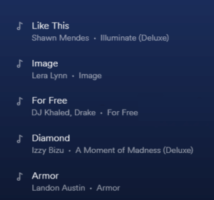 Haha yes: J Like This  Shawn Mendes  Illuminate (Deluxe)  J Image  Lera Lynn Image  For Free  DJ Khaled, Drake For Free  d Diamond  Izzy Bizu A Moment of Madness (Deluxe)  よArmor  Landon Austin Armor Haha yes