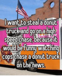 Life, Memes, and Tumblr: J want to steala donub  truckand go on a high  speedlchase, becauseit  would be Funnu waEchin  cons chase a donut truc  on Chenews memehumor:  memes in real life