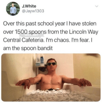 Memes, School, and Heroes: J.White  @Jayw1303  Over this past school year I have stolen  over 1500 spoons from the Lincoln Way  Central Cafeteria. I'm chaos. I'm fear. I  am the spoon bandit 🤣Damn, not all heroes wear capes some collect spoons