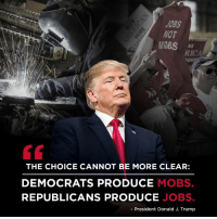 Jobs, Trump, and Wot: J0BS  WOT  RICA  THE CHOICE CANNOT BE MORE CLEAR:  DEMOCRATS PRODUCE MOBS.  REPUBLICANS PRODUCE JOBS.  - President Donald J. Trump The choice could not be more clear: Democrats produce MOBS, Republicans produce JOBS! vote.gop.com