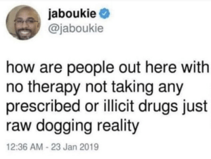 Drugs, Reality, and How: jaboukie  @jaboukie  how are people out here with  no therapy not taking any  prescribed or illicit drugs just  raw dogging reality  12:36 AM -23 Jan 2019 ??