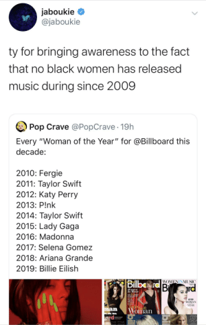 """This list being devoid of Beyoncé and Rihanna makes it invalid to begin with: jaboukie  @jaboukie  ty for bringing awareness to the fact  that no black women has released  music during since 2009  Pop Crave @PopCrave 19h  Every """"Woman of the Year"""" for @Billboard this  decade:  2010: Fergie  2011: Taylor Swift  2012: Katy Perry  2013: P!nk  2014: Taylor Swift  2015: Lady Gaga  2016: Madonna  2017: Selena Gomez  2018: Ariana Grande  2019: Billie Eilish  Billbo rd B rd  WOMENINMUSIC  IWomen  In Music  K10  Nicki  Minaj  KATY PERRY  WOMAN  YEAR  Taylorswift  Woman  LADY  GAGA  INK PINK This list being devoid of Beyoncé and Rihanna makes it invalid to begin with"""