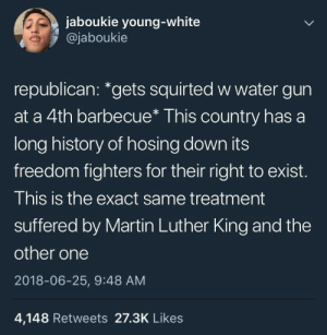 """Martin, History, and Martin Luther: jaboukie young-white  @jaboukie  republican: """"gets squirted w water gun  at a 4th barbecue* This country has a  long history of hosing down its  freedom fighters for their right to exist.  This is the exact same treatment  suffered by Martin Luther King and the  other one  2018-06-25, 9:48 AM  4,148 Retweets 27.3K Likes an unprotected kkklass"""