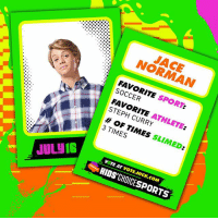 Memes, Nickelodeon, and Soccer: JACE  NORMAN  FAVORITE SPORT:  SOCCER  FAVORITE ATHLETE:  STEPH CURRY  # OF TIMES SLIMED:  3 TIMES  7'Δ  V TE AT VOTE.NICK.COM  JUL IS  1  KIDS'CHOICESPORTS Swipe ⏪ to get all the sports stats on your fav Nickelodeon stars 🤸‍♀️🏄 Tell us who you're stoked to see at KidsChoiceSports!