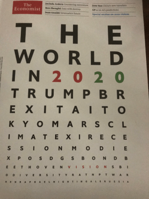 What does it say: Jacinda Ardern Countering extremism  The  Economist  Jane Sun China's new travellers  Ren Zhengfei Data with destiny  GP-2 An Al's predictions  Juan Guaidó Venezuela's future  Special section on 2020 visions  т  тHE  WORLD  IN 2 0 2 0  TRUM PBR  EXITAITO  KYOMARS CL  IMA TEXIRECE  S SI ON M OD IE  X PO S D G S B ON D B  E ETH OVE NV I S ION SB I  YRA T N P T WAR  O D I Vv ERS IT  RENR APHAELNI GHTINGALE RUS S  IA  NTS640/THAILAND Baht 540 What does it say