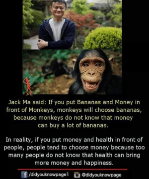 Memes, Money, and Happiness: Jack Ma said: If you put Bananas and Money in  front of Monkeys, monkeys will choose bananas,  because monkeys do not know that money  can buy a lot of bananas  In reality, if you put money and health in front of  people, people tend to choose money because too  many people do not know that health can bring  more money and happiness  f/didyouknowpagel @didyouknowpage