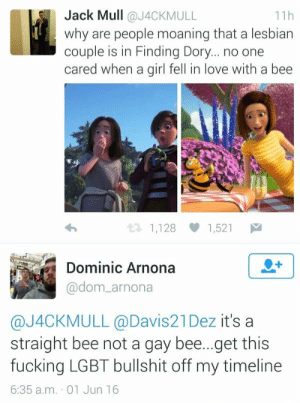 A Bee: Jack Mull @J4CKMULL  why are people moaning that a lesbian  couple is in Finding Dory... no one  cared when a girl fell in love with a bee  11h  1,128 1,521  Dominic Arnona  @dom_arnona  @J4CKMULL @Davis21Dez it's a  straight bee not a gay bee...get this  fucking LGBT bullshit off my timeline  6:35 a.m. 01 Jun 16