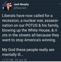 Family, God, and Memes: Jack Murphy  @RealJack  Liberals have now called for a  recession, a nuclear war, assassi-  nation on our POTUS & his family  blowing up the White House, & ri-  ots in the streets all because they  want to stop America's winning  My God these people really are  mentally ill  11:31 PM 29 Jun 18 Sad...
