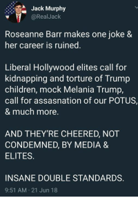 Children, Melania Trump, and Memes: Jack Murphy  @RealJack  Roseanne Barr makes one joke &  her career is ruined.  Liberal Hollywood elites call for  kidnapping and torture of Trump  children, mock Melania Trump  call for assasnation of our POTUS  & much more.  AND THEY'RE CHEERED, NOT  CONDEMNED, BY MEDIA &  ELITES  INSANE DOUBLE STANDARDS.  9:51 AM 21 Jun 18 (GC)