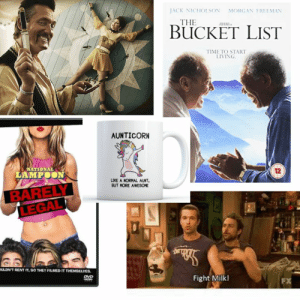 More context-free S8E2 spoilers: JACK NICHOLSON MORGAN EREEMAN  THE  BuCKET LIST  TIME TO START  LIVING  AUNTICORN  NATIONAL  LAMPOON  12  LIKE A NORMAL AUNT  BUT MORE AWESOME  LEGAL  ULDNTRENT IT, SO THEY FILMED IT THEMSELVES.  Fight Milk  FX More context-free S8E2 spoilers