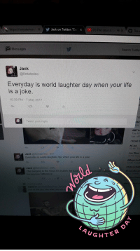 "Life, Twitter, and Yo: Jack on Twitter: ""E  x  e Zeus  Xmysteriou  Messages  Search Twitter  Jack  @Keksterino  Everyday is world laughter day when your life  is a joke  10:39 PM 7 May 201  Tweet your reply  RHC  OK  #MTVA  The  MT  has offi  CB360 T  NCAA  2.6K Twi  Joe Wes  Jack  (a Keksterino 8m  4.710 Twee  Everyday is world laughter day when your life is a joke  Jack @Kekslerino 20h  he focus RS makes the S20k  The badging  in t  sentially doub  difference  horsepow  guy she tells yo  GHTE"
