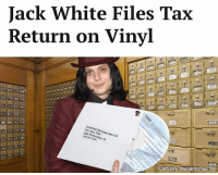 "Dad, Memes, and White: Jack White Files Tax  Return on Vinyl  Internal San Revenue Service  Francisco, CA  Full Story thehardtimes net ""I've never forgotten how I felt as a kid, thumbing through my dad's old longforms,"" White said through the crackle and hiss of his candlestick telephone."