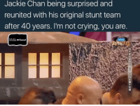 "Jackie Chan, Memes, and Not Crying: Jackie Chan being surprised and  reunited with his original stunt team  after 40 years. I'm not crying, you are  Milk Maelereat Shit I'd be an emotional wreck to if I haven't seen the people I came up with for 40 years.... I'll be hugging all the homies with tears rolling down my nose when we finally link up again like... "" Damn Tyrone... boy you look good... black don't crack huh HAHA... I heard you've joined the vegan resistance and are planning on overtaking the rest of us meat lovers as the Apex predators.. shit listen I'm sorry for wishing and praying that your dick will fall off after you slept with my wife... I'm not even with her anymore after I found out Tim and James run a train on her back in 94 when we were at the bank applying for a small business loan and I didn't know who she was yet... there goes those motherfuckers right there ... TIM, JAMES ...HAHA boy I missed you guys"""