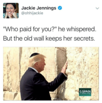 """Old, Her, and Who: Jackie Jennings  @ohhijackie  """"Who paid for you?"""" he whispered  But the old wall keeps her secrets  CSPAN  C-span.org"""