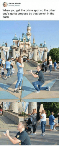 BAHAHAHA https://t.co/Hcv3GdaXgX: Jackie Martin  @Jackie Martin14  When you get the prime spot so the other  guy's gotta propose by that bench in the  back  0 BAHAHAHA https://t.co/Hcv3GdaXgX