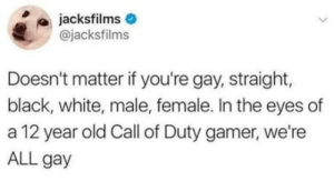 Be Like, Black, and Call of Duty: jacksfilms  @jacksfilms  Doesn't matter if you're gay, straight,  black, white, male, female. In the eyes of  a 12 year old Call of Duty gamer, we're  ALL gay It be like that all the time.