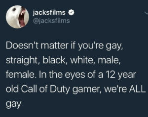 Gif, Tumblr, and Black: jacksfilms  @jacksfilms  Doesn't matter if you're gay,  straight, black, white, male,  female. In the eyes of a 12 year  old Call of Duty gamer, we're ALL  gay brendanthesalty: