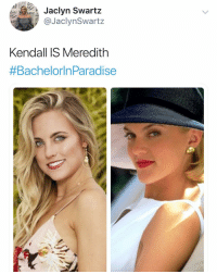 So many pop culture references so little time. New bach in paradise recap is out. Check it out link in bio @jaclynswartz: Jaclyn Swartz  @JaclynSwartz  LOV  Kendall IS Meredith  #Bachelorin Paradise So many pop culture references so little time. New bach in paradise recap is out. Check it out link in bio @jaclynswartz
