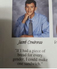 "Gender, Bread, and Sandwich: Jacob Contreras  ""If I had a piece of  bread for every  gender, I could make  one sandwich."" Ben Shapiro counts the number of genders (2018)"